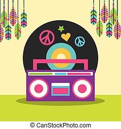 estéreo, amor, hippie, paz, penas, livre, disco, rádio, vinil, espírito
