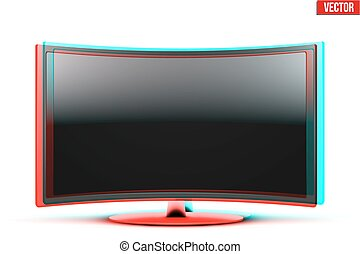 estéreo, conduzido, tv, frontal, widescreen, efeito, visual, lcd, curvado, ou, vista