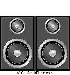 estéreo, conjunto, negro, gris, altavoces