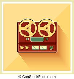 estéreo, cubierta, carrete, jugador, cinta, retro, registrador, abierto