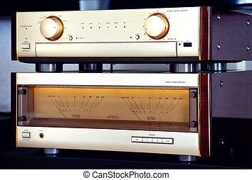 estéreo, fin, vendimia, amplificador, dos, sistema, alto,...