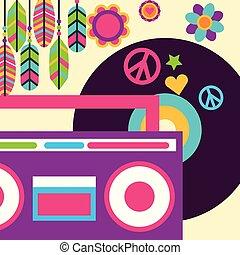 estéreo, hippie, livre, rádio, vinil, música, pena, flores, espírito