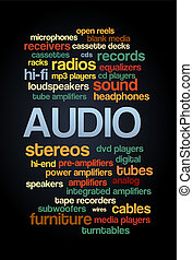 estéreo, palavra, texto, árvore, tag, áudio, bolha, nuvem
