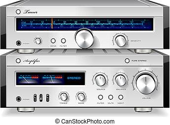 estéreo, vendimia, amplificador, música, sintonizador, audio, estante, análogo