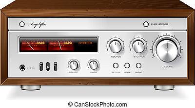 estéreo, vendimia, amplificador, vector, hola fiel, análogo