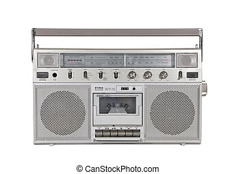 estéreo, viejo, portátil, recorte, jugador, cassette,...