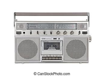 estéreo, viejo, portátil, recorte, jugador, cassette, trayectoria