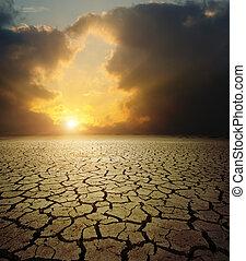 estéril, sobre, terra, pôr do sol