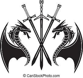estêncil, dragões, swords.
