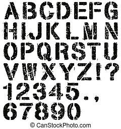 estêncil, letras, números