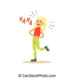 estómago, colorido, ella, carácter, ilustración, vector, ...