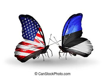 estónia, eua, símbolo, dois, relações, borboletas,...