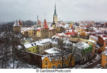 estónia, tallinn, antigas, inverno, town/