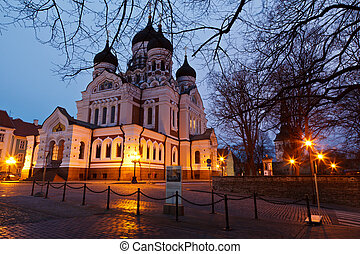 estónia, tallinn, igreja, nevsky, noturna, alexander
