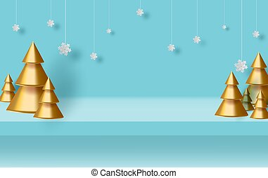 estúdio, árvore, penduradas, card., saudação, sala, ouro, tabela, arte digital, fundo, exposição, horizontais, natal, arte, feriado, azul, produto, feito, cópia, vista, snow.paper, espaço, borda