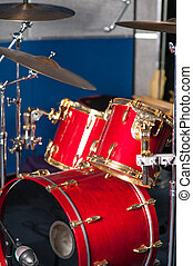estúdio, dentro, jogo, tambor, vermelho