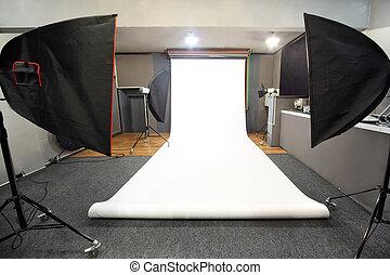 estúdio foto, fundo, interior, profissional, branca