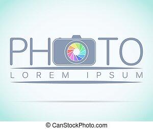 estúdio foto, modelo, logotipo