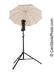 estúdio, guarda-chuva branco, isolado, strobe