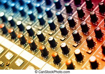 estúdio, música, detalhe, misturador