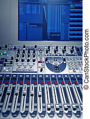 estúdio, música, misturador