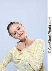 estúdio, modelo, posar, jovem, emocional