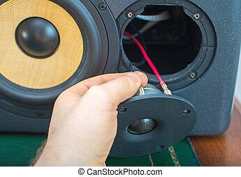 estúdio, monitor, mão, conectando, profissional, macho, speaker.