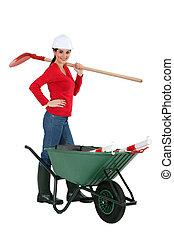 estúdio, mulher, construção, tiro, trabalhador
