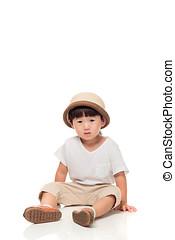 estúdio, retrato, de, deprimido, leste asian, criança masculina