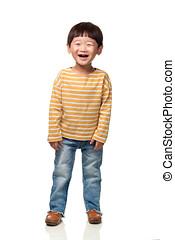 estúdio, retrato, de, leste asian, criança masculina, sorrindo, e, posar