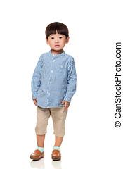 estúdio, retrato, de, surpreendido, leste asian, criança masculina