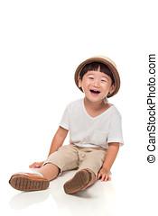 estúdio, retrato, de, um, feliz, leste asian, criança masculina