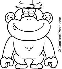 estúpido, caricatura, chimpancé