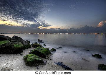est, 2, spiaggia, alba, costa