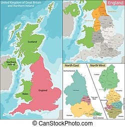 est, ouest, carte, nord, angleterre