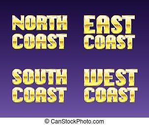 est, ovest sud, costa, nord, dorato