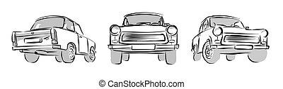 est, vecteur, trois, vieux, voiture allemande, croquis, views.