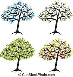 estação, árvore, para, inverno, primavera, verão, outono