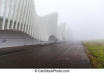 estação, calatrava, trilho, nevoeiro