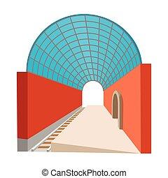 estação, caricatura, metro, ícone