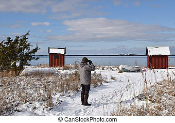 estação, costa, inverno, birder, observar