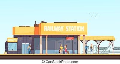 estação de comboios, fundo