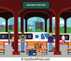 estação de comboios, ilustração