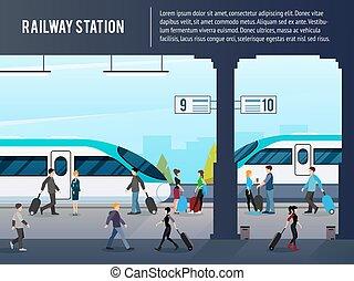 estação de comboios, intercity, ilustração