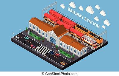 estação de comboios, isometric, composição