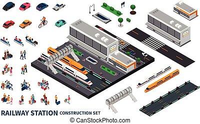 estação de comboios, isometric, construtor