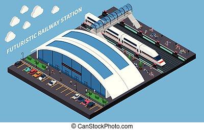 estação de comboios, isometric, futurista, composição
