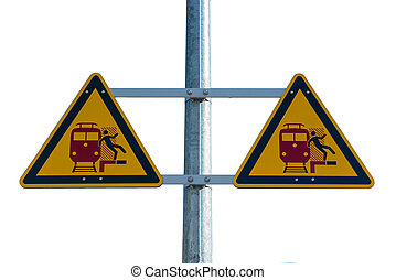 estação de comboios, sinal aviso