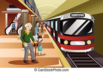 estação, esperando, trem, pessoas