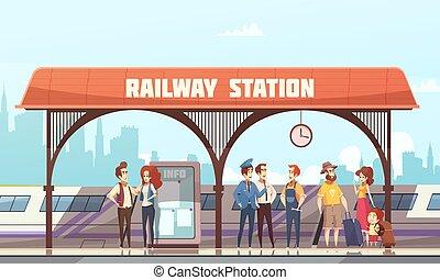 estação, estrada ferro, vetorial, ilustração